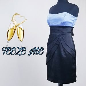 Strapless blue and black knee length dress
